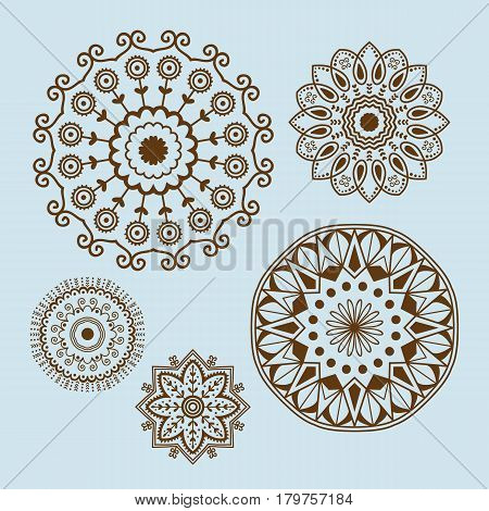 Henna tattoo brown mehndi flower template doodle ornamental lace decorative element and indian design pattern paisley arabesque mhendi embellishment vector. Traditional decorative mandala element.