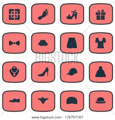 Vector Illustration Set Of Simple Clothes Icons. Elements Jewelry, Elegance, Footwear And Other Synonyms Footwear, Foot And Baseball.