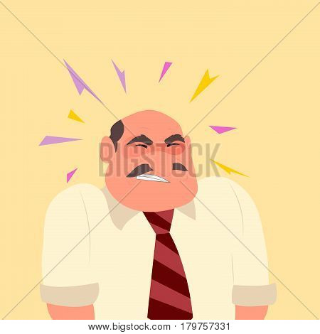 Man suffering headache and migraine in pain. Character design with migraine concept. Typographic for header design - vector illustration