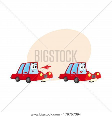 Two cute and funny red car characters racing, hurrying somewhere at full speed, cartoon vector illustration with place for text. Funny red car character, mascot racing with each other