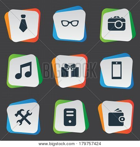 Vector Illustration Set Of Simple Accessories Icons. Elements Digital Camera, Eyeglasses, Cravat And Other Synonyms Photo, Tie And Grant.
