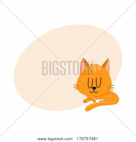 Cute and funny red cat character sleeping, dreaming sweetly, cartoon vector illustration with place for text. Cute and funny sleeping red cat character