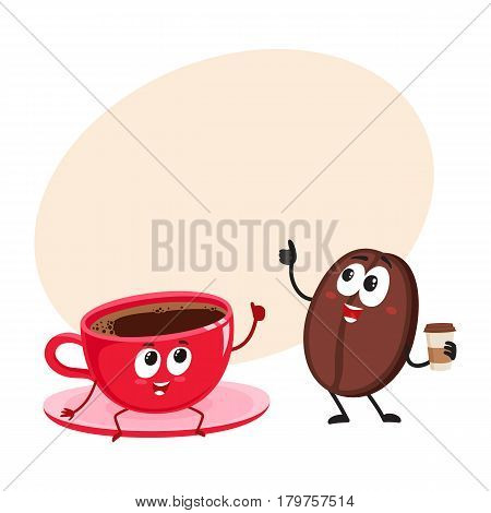 Funny coffee bean and espresso cup characters showing thumb up, cartoon vector illustration with place for text. Coffee bean with paper coffee cup and espresso, americano characters, mascots