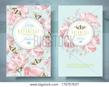Vector spring flower banners with pink tulips and butterflies. Elegant tender design for natural cosmetics, perfume. With place for text. Can be used as greeting card or wedding invitation