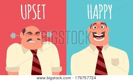 Happy and angry man. Flat style modern vector illustration.
