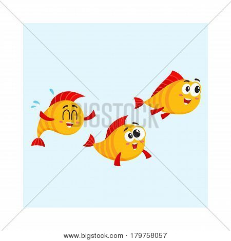 Shoal of three smiling funny golden, yellow fish characters speeding somewhere, cartoon vector illustration isolated on white background. Yellow fish characters, mascots swimming, rushing