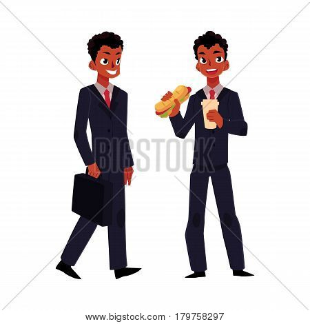 Black African American businessman going to work and eating sandwich for lunch, cartoon vector illustration isolated on white background. Black businessman, manager at work, having lunch
