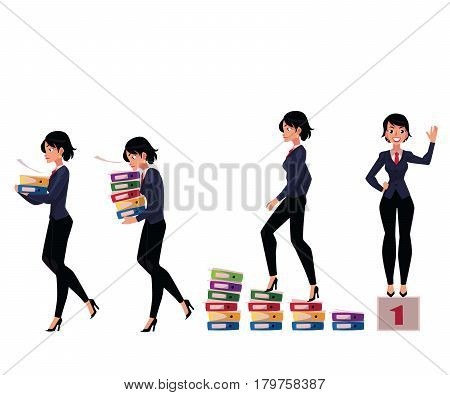 Beautiful businesswoman carrying folders, success, winning, career ladder, cartoon vector illustration isolated on white background. Caucasian businesswoman in various business situations