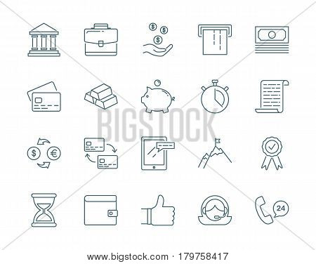 Banking and finance set of vector icons