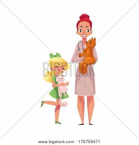 Woman, female veterinarian doctor, vet in white medical coat and little girl holding cats, cartoon vector illustration isolated on white background. Veterinarian doctor, vet and girl, pet, cat owner