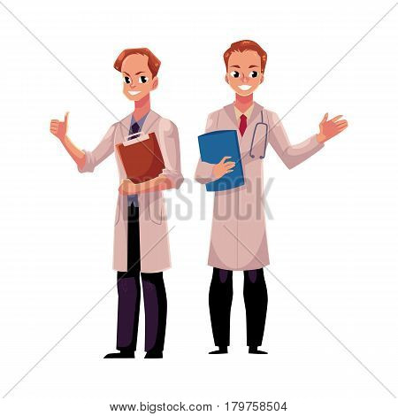 Two male doctors in medical coats holding document folder and clipboard, showing thumb up, cartoon vector illustration isolated on white background. Full length portrait of two male, man doctors