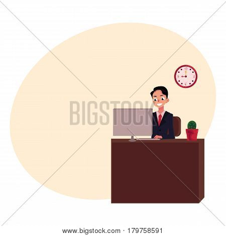Young businessman sitting and working at office desk, looking at the monitor, cartoon vector illustration with place for text. Businessman, worker, employee working in office, on computer