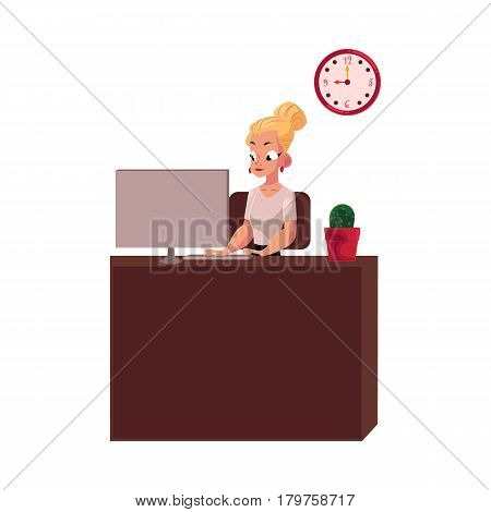 Young pretty blond businesswoman, secretary, office manager working on computer, cartoon vector illustration isolated on white background. Businesswoman, secretary, office manager working on computer