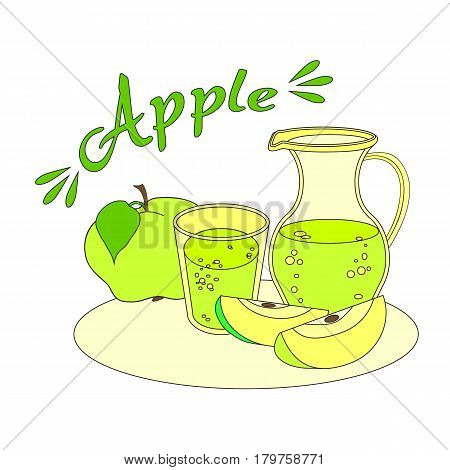 Apple fresh juice with glass and carafe on white field