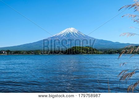 Fuji mountain and Kawaguchiko lake with blue sky Japan