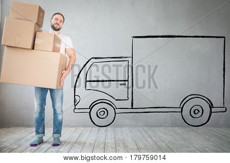 Man New Home Moving Day House Concept