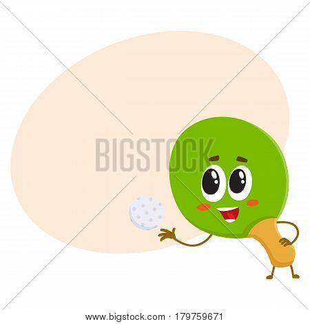 Funny table tennis, ping pong racket character with human face, cartoon vector illustration with place for text. Smiling table tennis, ping pong racket character, sport equipment