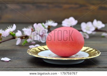 Easter card with red Easter egg on the plate and spring branches