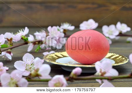 Easter card with red Easter egg and pink spring branches