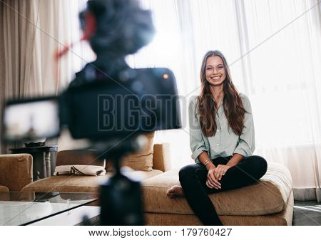 Female Blogger Recording Video Content For Her Blog.