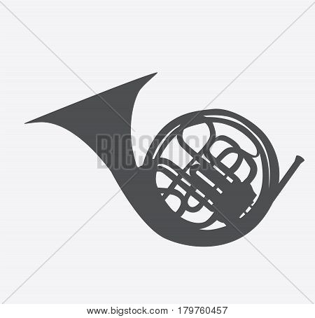 Musical Instrument Horn, which is Used in Symphony Orchestras and Brass Nands. Vector Illustration. EPS10