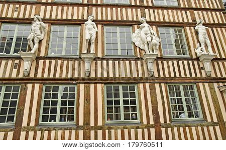 Rouen France - november 26 2016 : the historical city center in winter