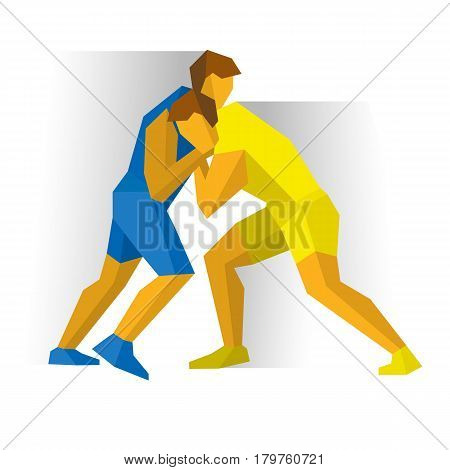 Greco-Roman Freestyle Wrestling. Athlete isolated on white background with shadows. International sport games infographic. Two fighters competition - flat style vector clip art. poster