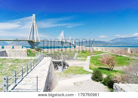 View of Patras Rion castle and famous Rio Antirrio bridge, Greece