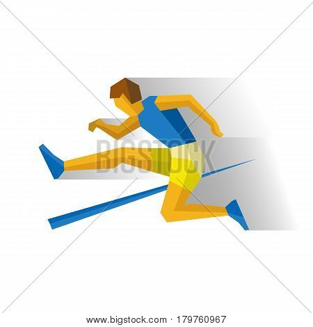 Obstacle race runner. Athlete isolated on white background with shadows. International sport games infographic. Track-and-field athletics - flat style vector clip art.