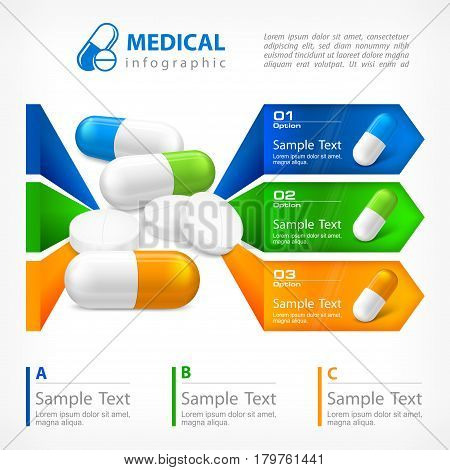 Medical Pill Infographic On White