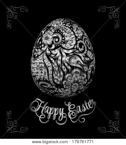 Abstract silver easter egg on black background. Vector eps10 illustration. Happy easter ornate silver lettering