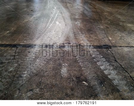 wheel track and cement powder on cement floor