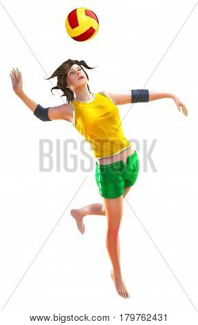 Illustration one female player beach volley isolated on white background