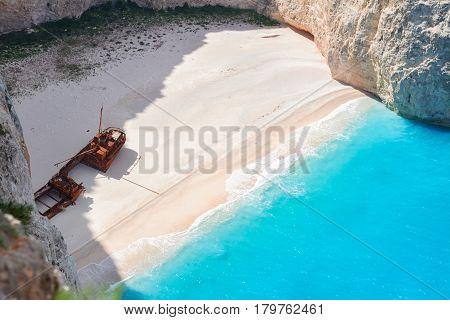 Navagio beach close up view, beautiful landscape of Zakinthos island, Greece