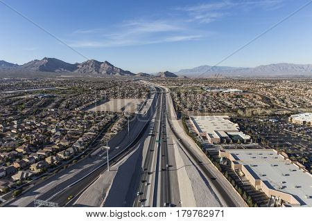 Aerial view of the 215 freeway in the Summerlin area of Las Vegas, Nevada.
