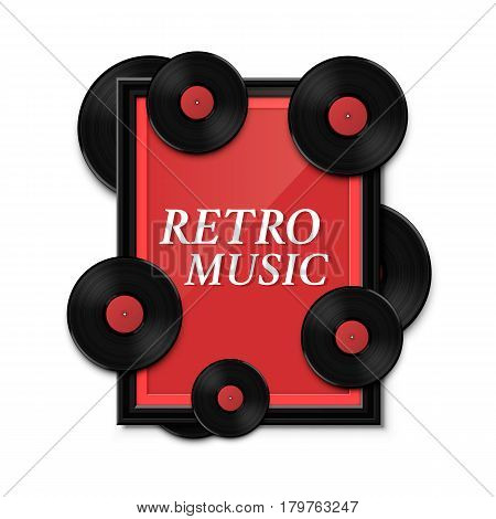Hit vinyl in frame on wall, Collection disc retro music, template design element, Vector