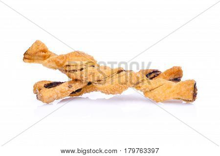 Spiral bread with chocolate isolated on white background