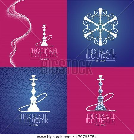 Set of hookah vector icon. Template graphic design element for menu of hookah lounge bar vintage style decoration
