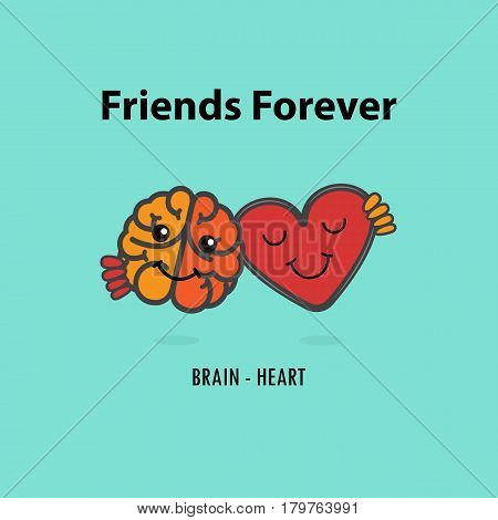 Brain icon and heart vector logo design template.Heart and brain cartoon character with Friends forever concept.Vector illustration.