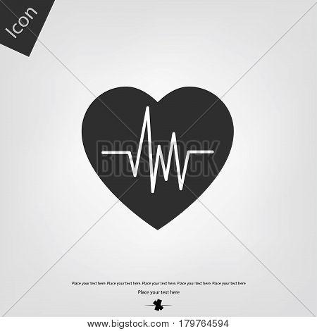 Heart beat vector icon, gray background. Vector illustration.