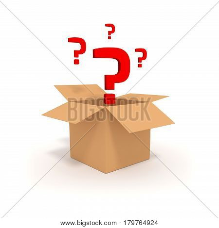 Surprise in a box 3D illustration. Open cardboard box with question mark.