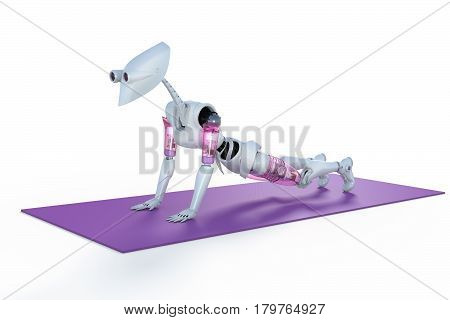 3d render of a female robot doing push ups on a mat against a white background.