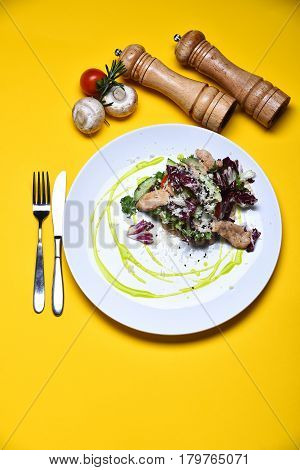 Cooked Fish With Fresh Salad Leaves, Mushroom And Cherry Tomato