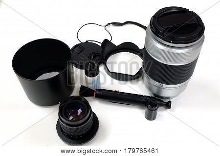 Camera accessories,Photographic equipment,Cleaning lens before photo shot.