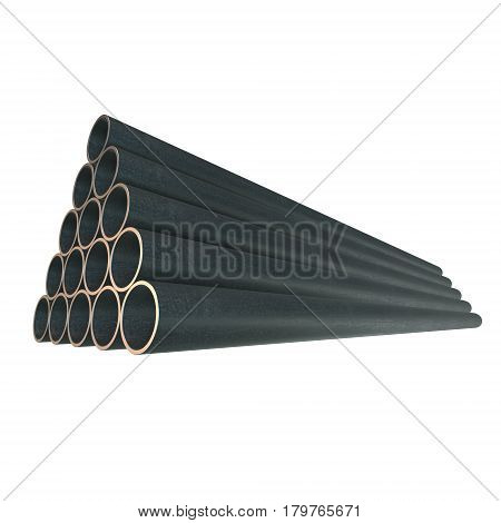 Stack of steel metal pipes. 3d render isolated on white