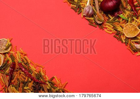 Colorful Frame Of Dried Fusilli Pasta