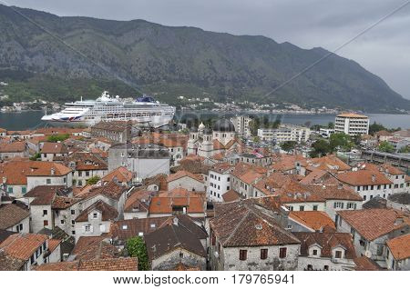 Montenegrin city of Kotor from a bird's-eye view