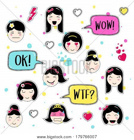 Set of cute patch badges. Girl emoji with different emotions and hairstyles. Kawaii emoticons, speech bubbles ok, wow, wtf. Set of stickers, pins in anime style. Isolated vector illustration.