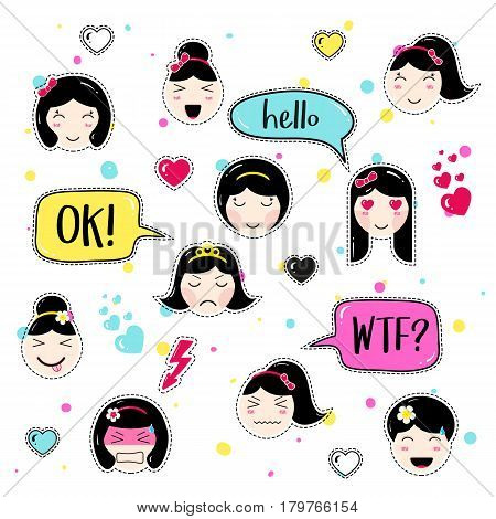 Set of cute patch badges. Girl emoji with different emotions and hairstyles. Kawaii emoticons, speech bubbles hello, ok, wtf. Set of stickers, pins in anime style. Isolated vector illustration.