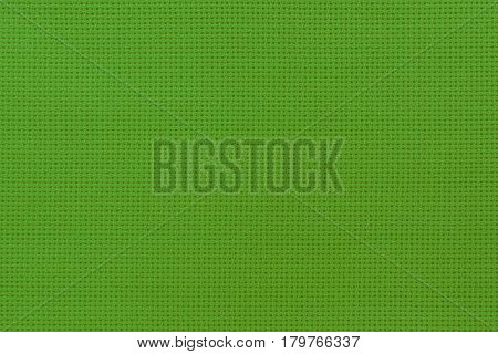 Close-up View Of The Green Color Natural Cloth. Aida Texture For The Background.
